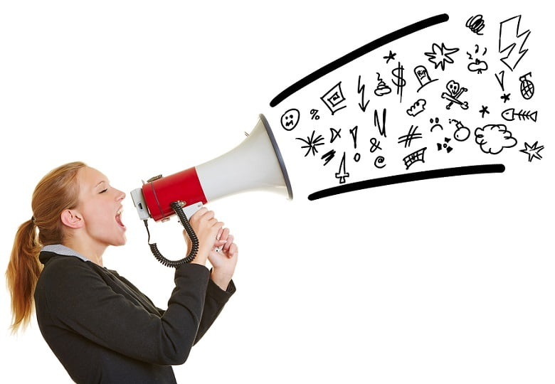 Woman ranting through a megaphone