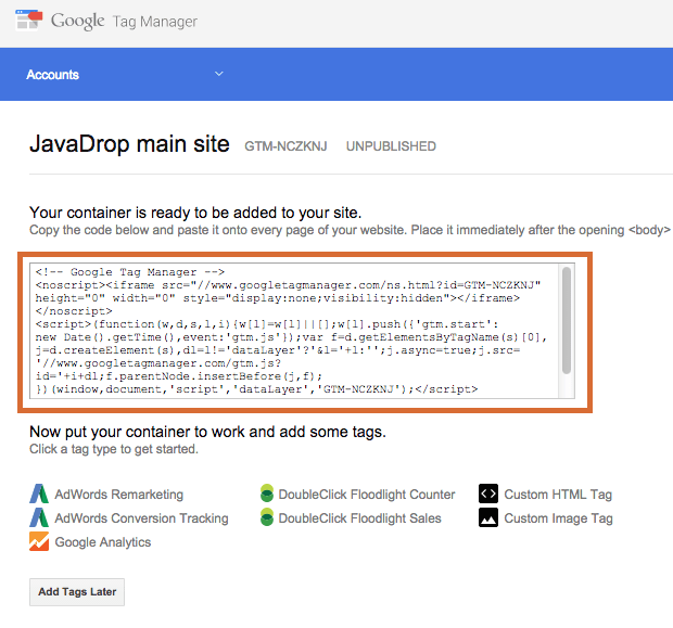 Google Tag Manager Container