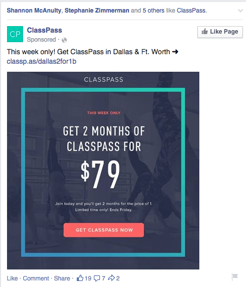 Facebook newsfeed ad