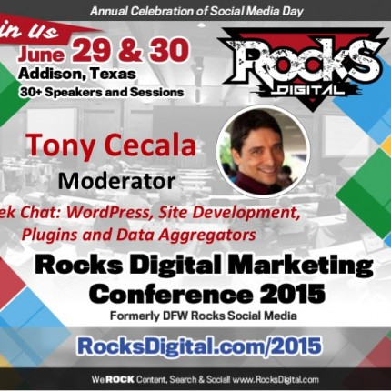 Tony Cecala to Moderate Geek Chat: WordPress, Website, Data Session