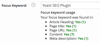 WordPress SEO by Yoast Focus Keyword