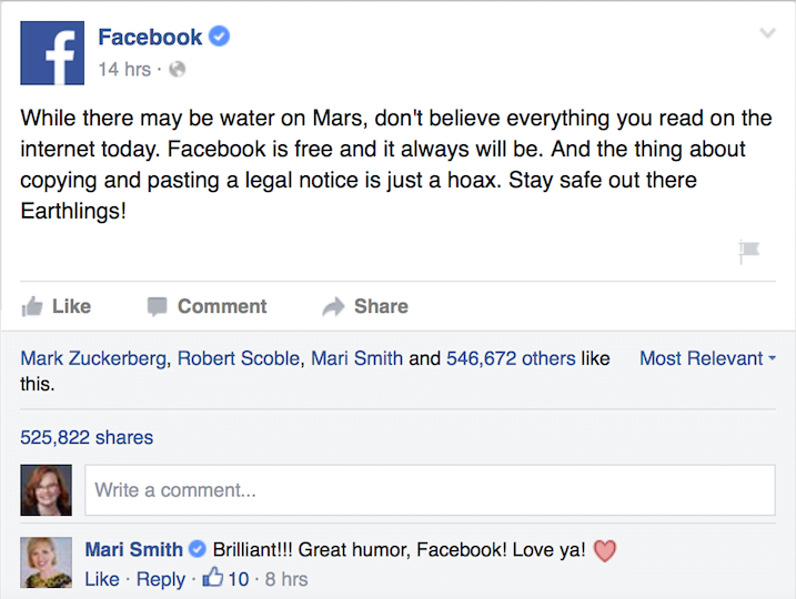 Facebook's response to charging spoof
