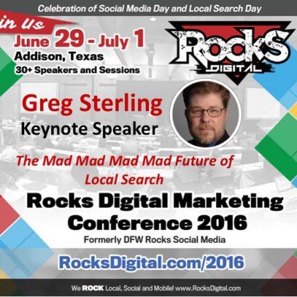 Greg Sterling, VP at Local Search Association to Keynote at Rocks Digital 2016