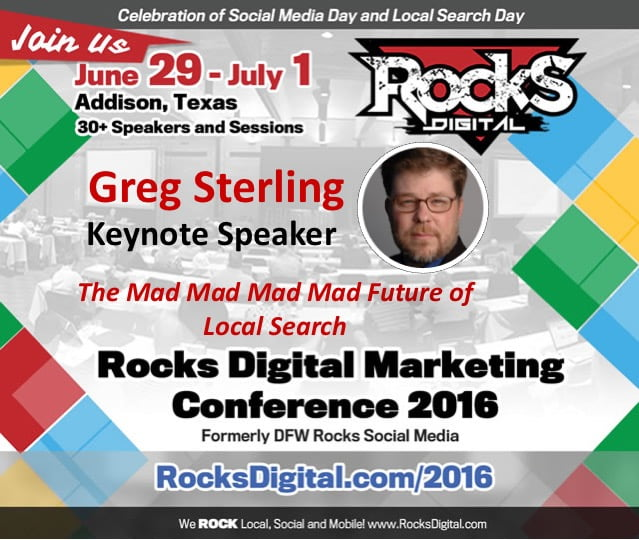 Greg Sterling, VP at Local Search Association to Keynote at Rocks Digital 2016