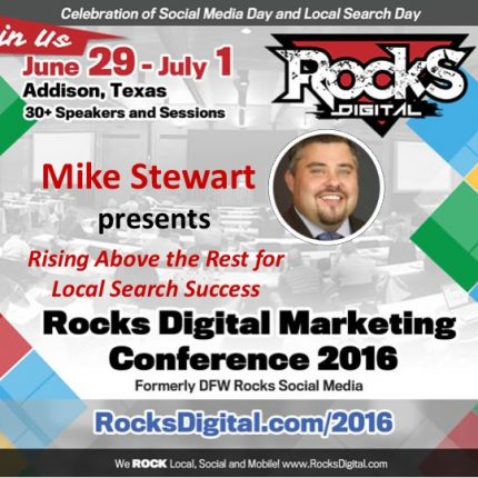 Mike Stewart presents on standout Local SEO Strategies at Rocks Digital 2016