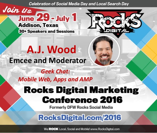 A.J. Wood to moderate Mobile Web Rocks Digital 2016