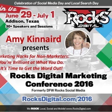 Amy Kinnaird Brings Skills for Marketing Your Own Brilliance to Rocks Digital 2016!