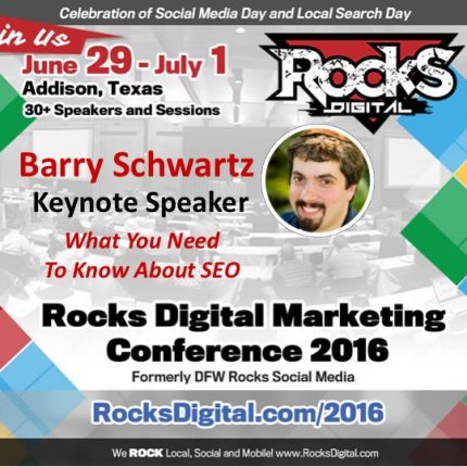 Barry Schwartz, Founder of Search Engine Roundtable and CEO of RustyBrick Keynote at Rocks Digital 2016