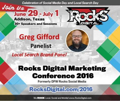 Greg Gifford Joins the Local Search Day Brand Panel at Rocks Digital 2016!