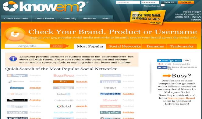 Knowem.com Personal Branding Site