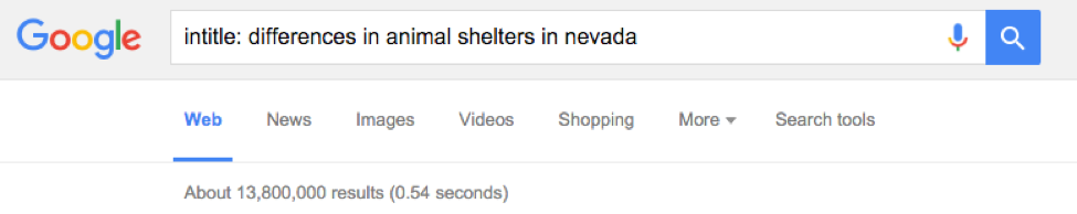 Nevada Animal Shelter Search