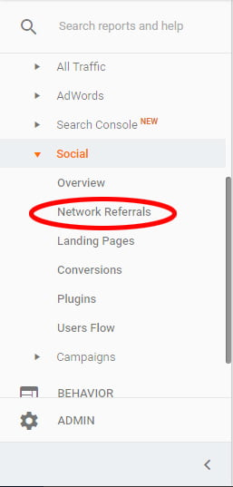 Google Analytics for Pinterest Selecting Social Network Referral Report