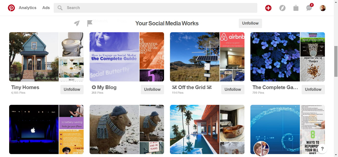 Pinterest Page for Your Social Media Works