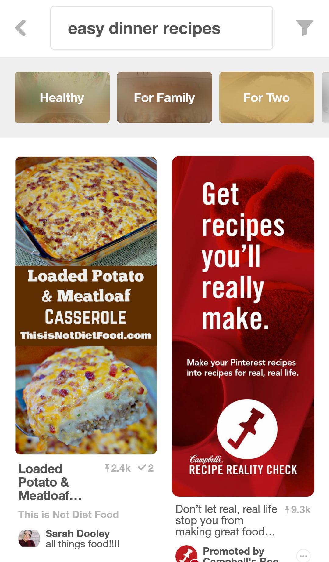 Pinterest Trending Ideas Search on Mobile