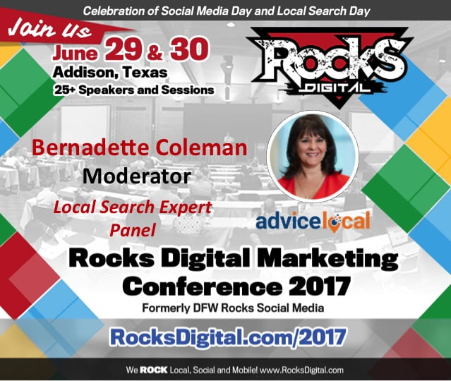 Bernadette Coleman, #QueenofLocalSEO, to Moderate Local Search Expert Panel at Rocks Digital 2017