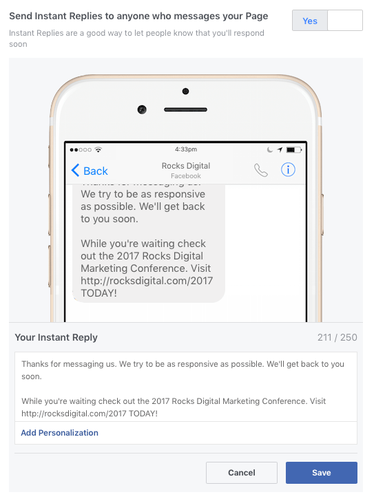 Facebook instant Reply Assistant - Chatbot
