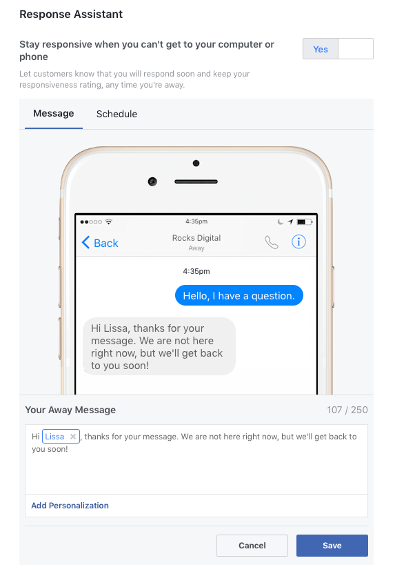 Facebook Away Response Assistant - Chatbot