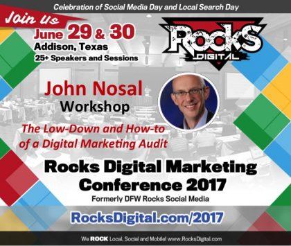 John Nosal, the CEO of SEO, to Lead Digital Marketing Audit Workshop at Rocks Digital 2017