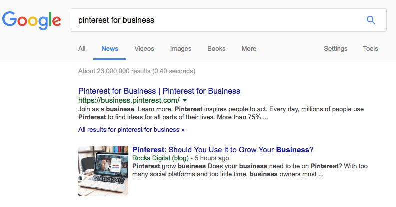 Pinterest for Business in Google News