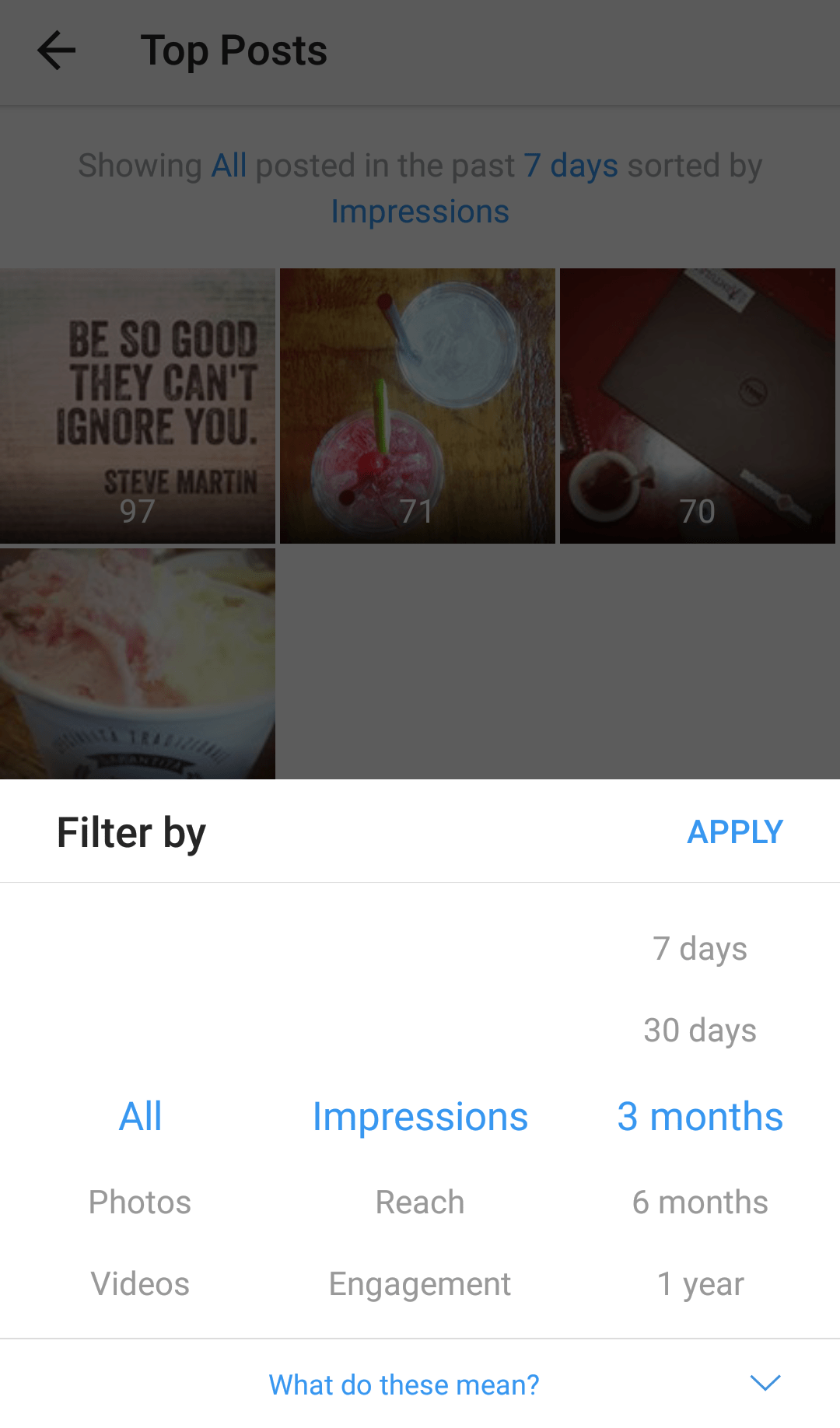 Insights Top Posts Filter Instagram