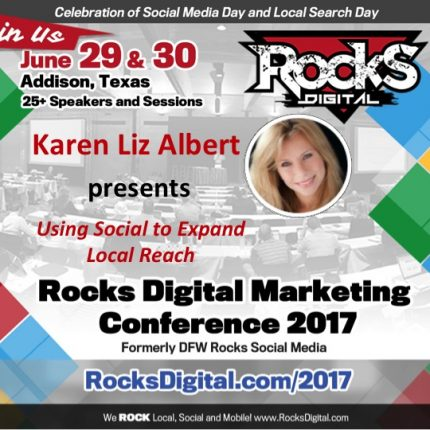 Social Media Strategist, Karen Liz Albert, to Present on Using Social for Local at #RocksDigital 2017