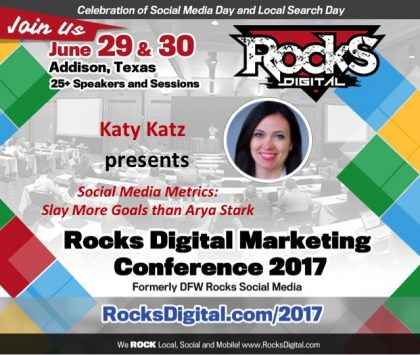 Inbound Marketing Expert, Katy Katz, to Present on Social Media Metrics at #RocksDigital 2017
