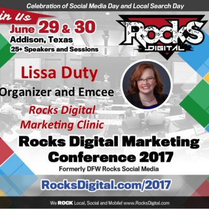 Lissa Duty, #RocksDigital Cofounder, to led Content Marketing Workshop and Host Digital Marketing Clinic