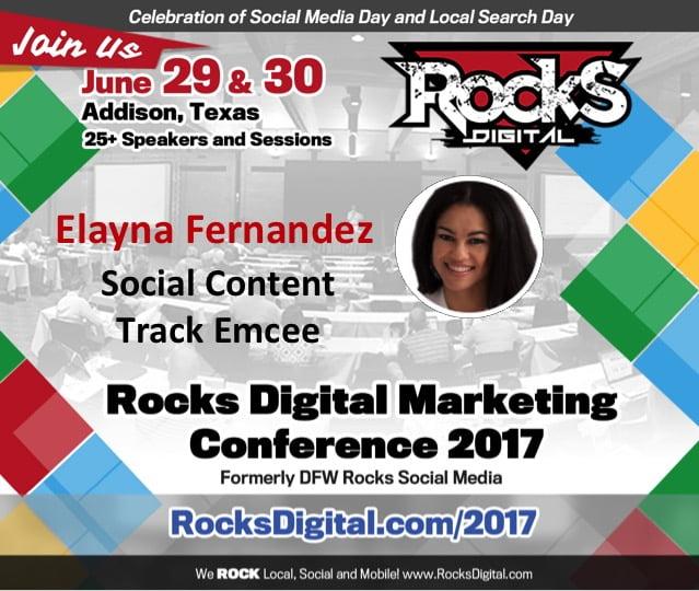 Elayna Fernandez, Social Content Track Emcee at Rocks Digital 2017