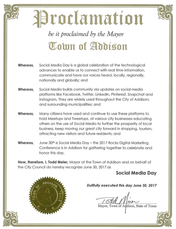 Social Media Day Addison 2017 Proclamation - Rocks Digital
