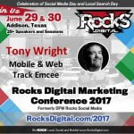 Tony Wright, Emcee of Mobile and Web Track and Rocks Digital 2017