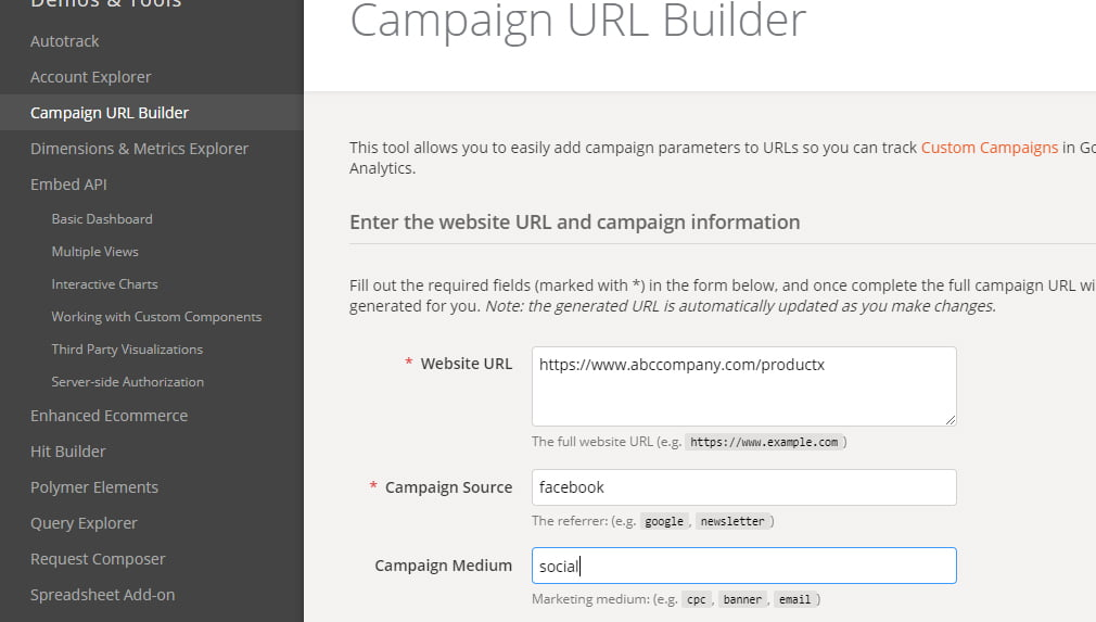 google-analytics- builder