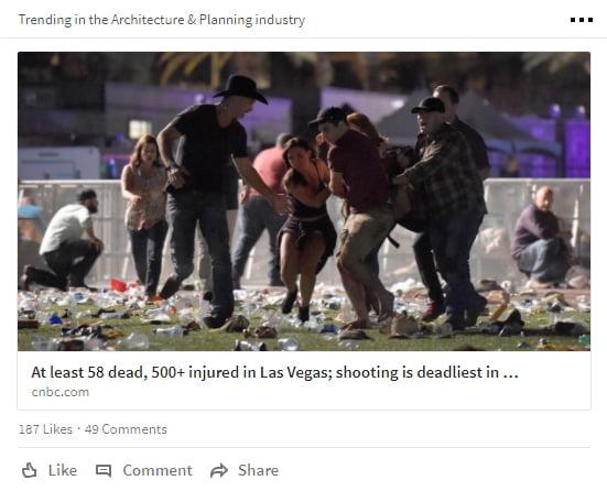 LinkedIn Social Media Post about Vegas Shooting