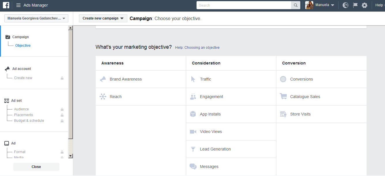 Facebook Advertising – Campaign Objective