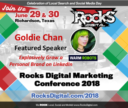 Goldie Chan, Top LinkedIn Video Creator to Speak at Rocks Digital 2018