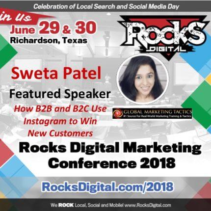Sweta Patel, Instagram Influencer, to Speak on B2B and B2C Instagram Strategies at Rocks Digital 2018
