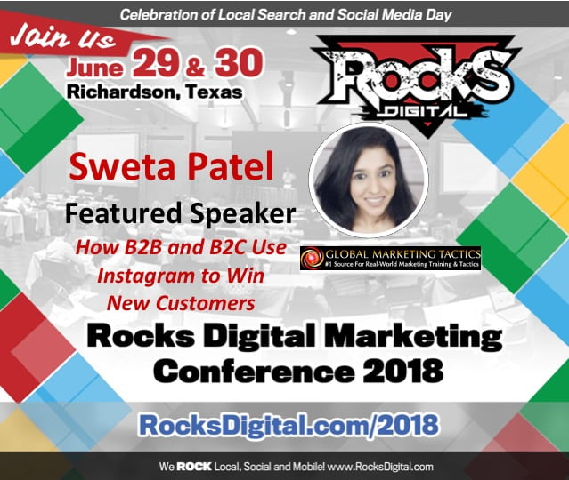 Sweta Patel, Instagram Influencer, to Speak on B2B and B2C Instagram Strategies at Rocks Digital 2018