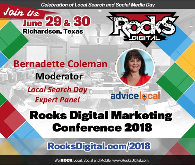 Bernadette Coleman, Rocks Digital Cofounder, and #QueenofLocalSEO to Moderate Local Search Day Panel at Rocks Digital 201