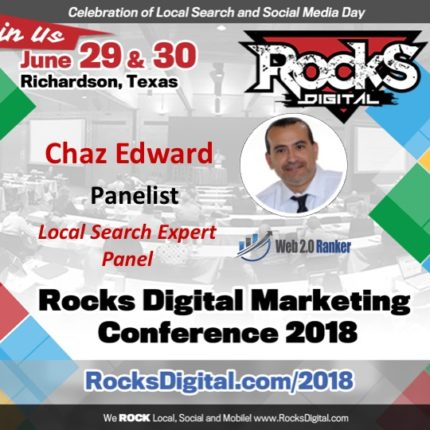 Chaz Edward, Google My Business Aficionado, Joins the Local Search Day Panel at Rocks Digital 2018