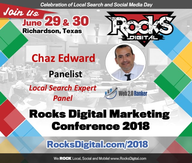 Chaz Edward, Google My Business Aficionado Joins the Local Search Day Panel at Rocks Digital 2018