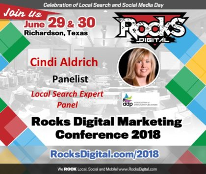 Cindi Aldrich, 30-Year Yellow Pages Industry Veteran and CEO of ADP Joins the Local Search Day Panel at Rocks Digital 2018