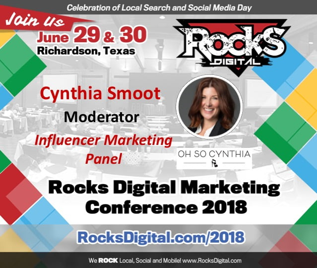 Cynthia Smoot, Publicist and Influencer, to Moderate Influencer Marketing Panel at Rocks Digital 2018