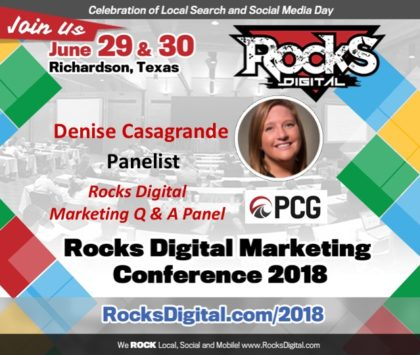 Denise Casagrande, Social Media Director at PCG Companies, Joins the 2018 Rocks Digital Marketing Q & A Panel