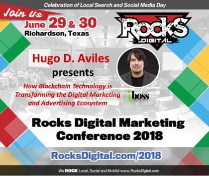 Hugo D. Aviles to Speak on Blockchain's Transformation of the Digital Marketing Ecosystem at Rocks Digital 2018