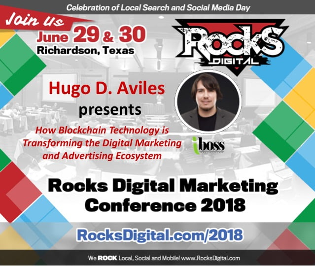 Hugo D. Aviles to Speak on Blockchain's Transformation of the Digital Marketing Ecosystem at Rocks Digital 2018
