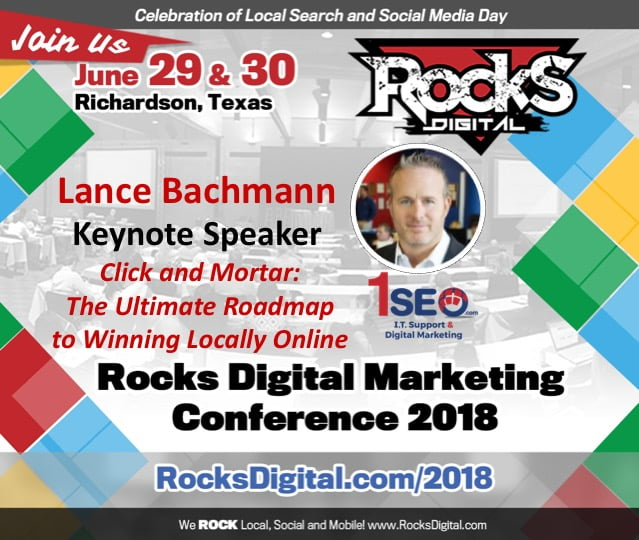 Lance Bachmann, 1SEO CEO, to Keynote on Winning Locally Online at Rocks Digital 2018