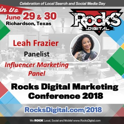 Leah Frazier, FashionPreneur™, Joins the Influencer Marketing Panel at Rocks Digital 2018