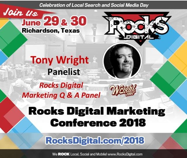 Tony Wright, Search Marketing Expert, Joins the 2018 Rocks Digital Marketing Q & A Panel