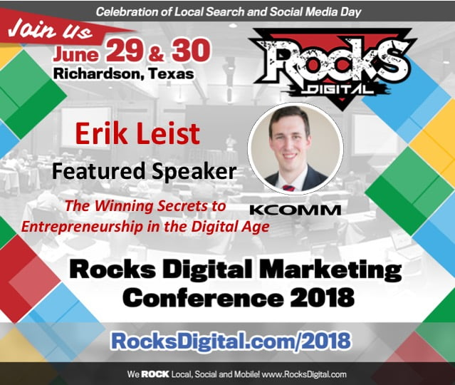 Erik Leist, Digital Strategist, to Join Keynote Presenter, Sinan Kanatsiz on Stage at Rocks Digital 2018