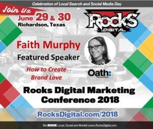Faith Murphy, Former Yahoo Exec, to Present on How to Create Brand Love at Rocks Digital 2018