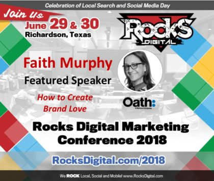 Faith Murphy, Former Yahoo Exec, to Present on How to Create Brand Love at Rocks Digital 2018